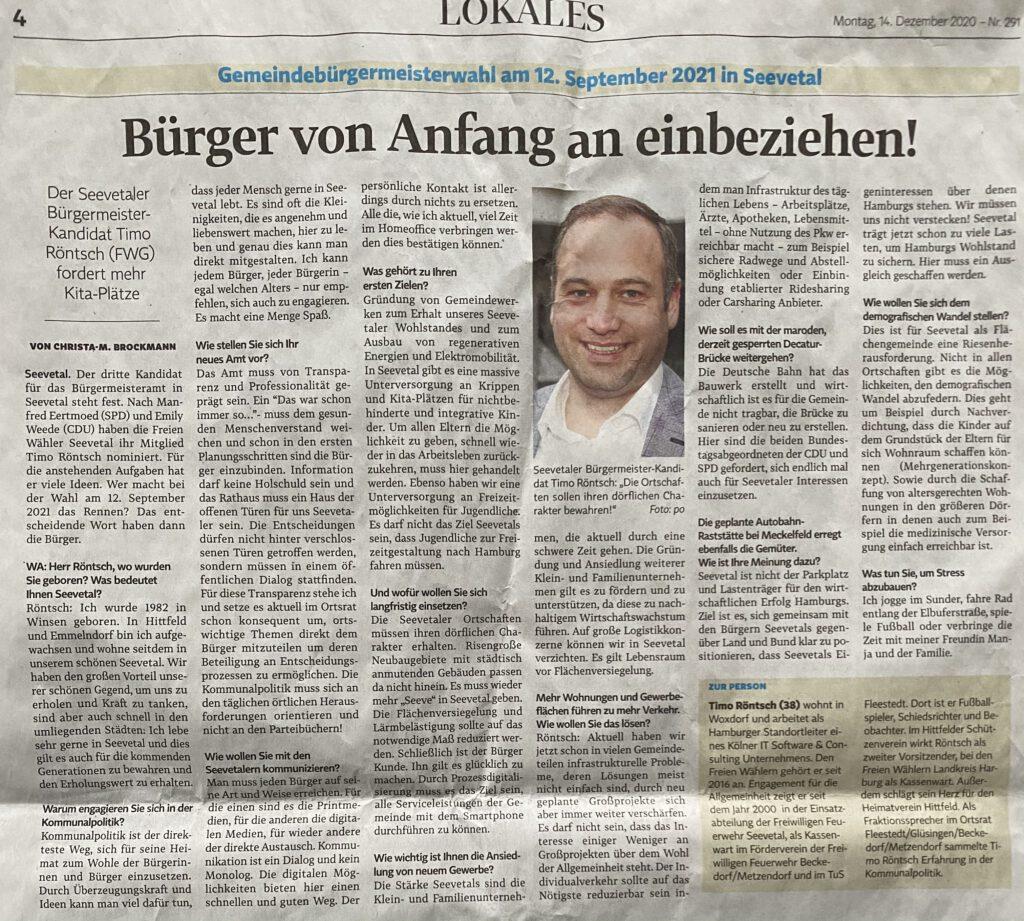 Pressebericht Winsener Anzeiger 14.12.2020